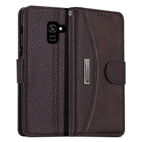 IDOOLS Funda Samsung Galaxy A8 2018, Funda de Cuero para Teléfono con Ranura para Tarjeta, Cartera Carcasa Piel, Soporte para Teléfono Móvil - Marrón