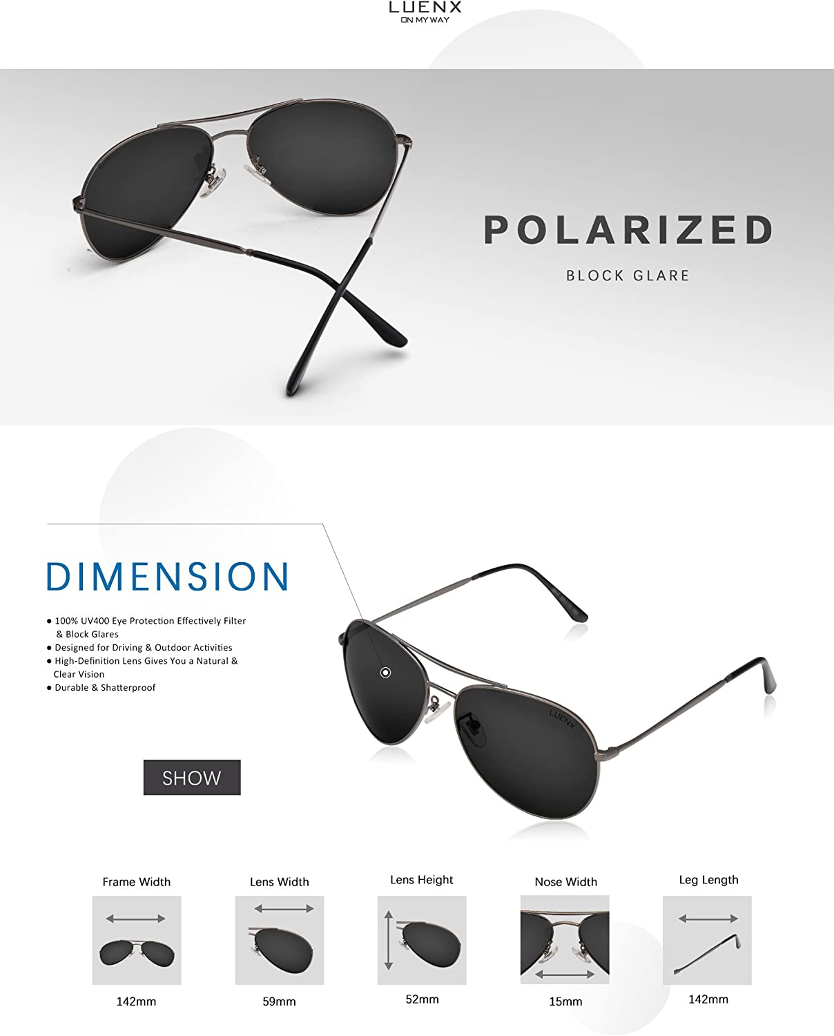 UV 400 Protection with case 60MM Classic Style LUENX Men Aviator Sunglasses Polarized