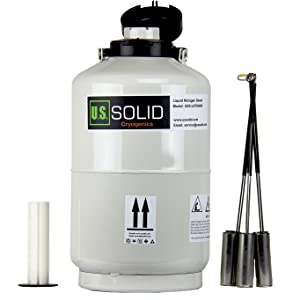 U.S.SOLID 10L Cryogenic Container Liquid Nitrogen LN2 Tank Dewar with Straps 6 Canisters