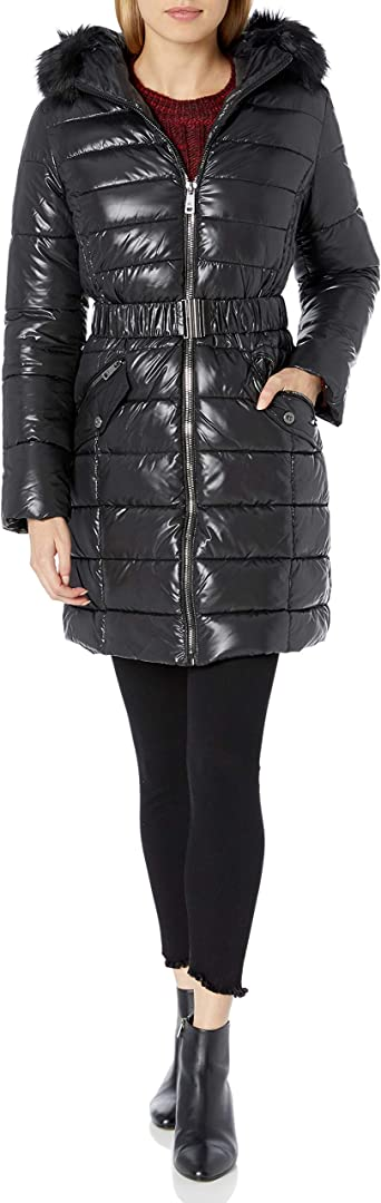 Kenneth Cole New York Womens Belted Snap Front Puffer with Faux Fur Trimmed Hood