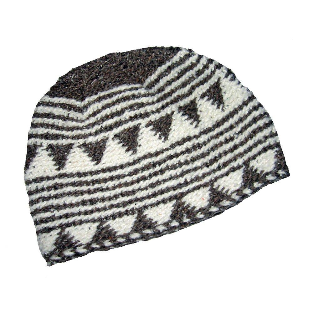 musimon Mütze 100 % Schafwolle grau hellbraun naturweiß handgestrickt 26 - Marok_GN _M