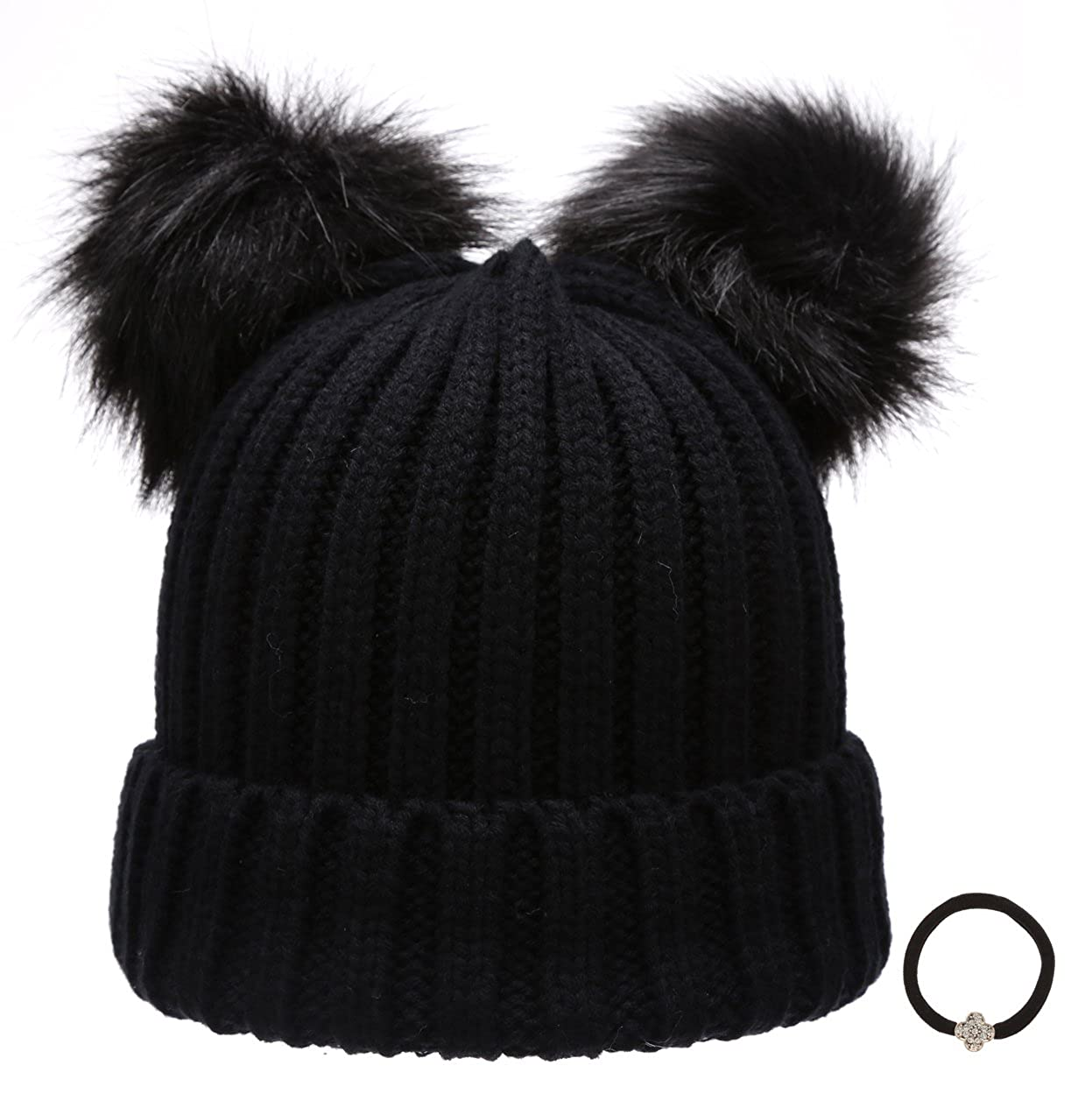 b67b95a27 Epoch Women's Winter Chunky Knit Double Pom Pom Beanie Hat with Hair Tie.