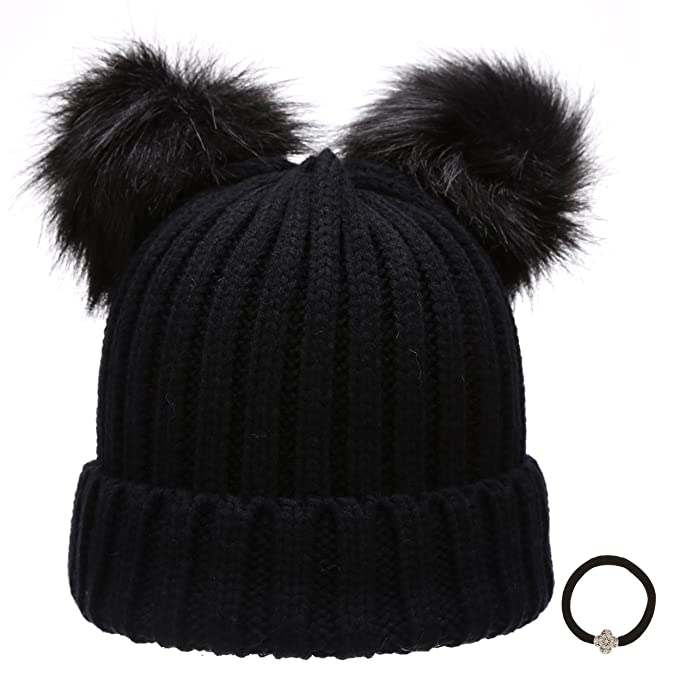 Women s Winter Chunky Knit Double Pom Pom Beanie Hat With Hair Tie.(Black) c616612537c