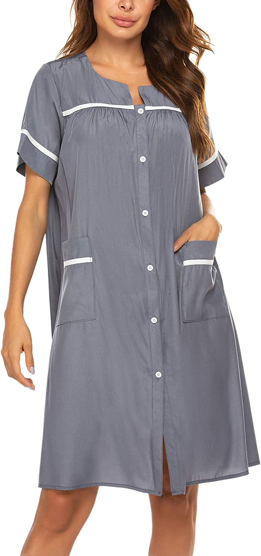 Sleep & Lounge luxilooks House Dresses for Elderly Women Button