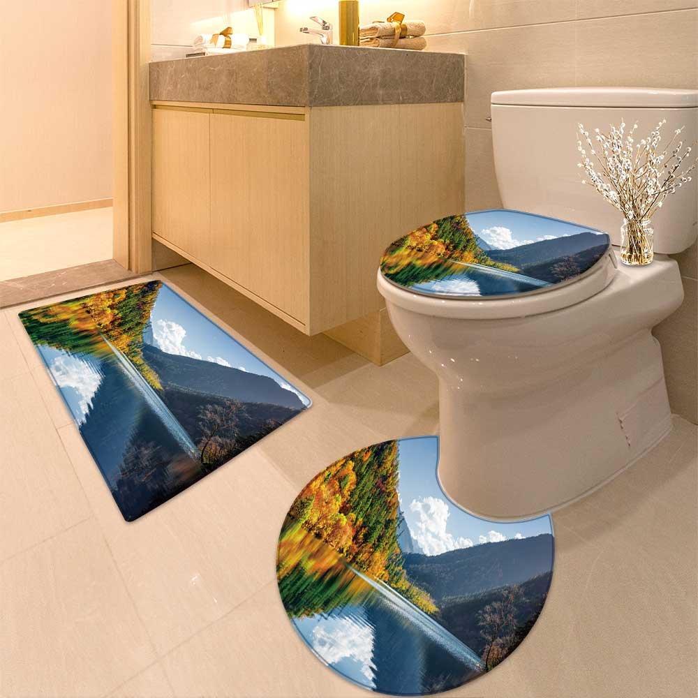 3 Piece Anti-slip mat set Fantastic vie of the Five (Multicolored ) among colorfu fal woods in Jiuzhaigou rese Non Slip Bathroom Rugs
