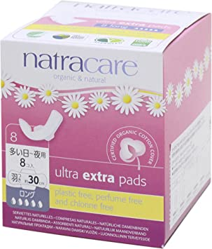 Natracare Long Ultra Extra Pads with Wings -(1 Pack of 8 pads)