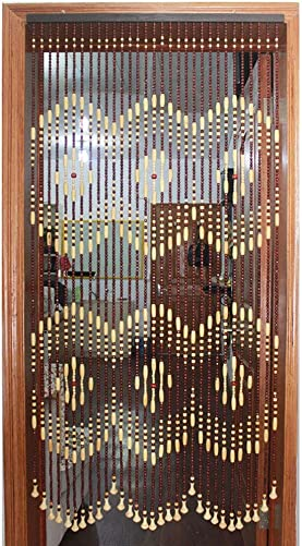 GuoWei Wooden Beaded Curtain for Doorway Passage Room Divider Decor Hanging Door Screen Rustic Color A, Size 51 strands-120x180cm