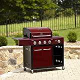 Red BBQ Grill 4 Burner Propane 53,000 BTU Grill W/ Side Burner 588.8 sq ft cook