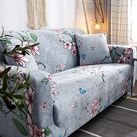 D&LE Funda de sofá Cubre 1 2 3 4 Plazas Color Puro Felpa Protector de sofá Terciopelo Fácil Ajuste elástico Tela Stretch Protector para sofás-N 1 ...