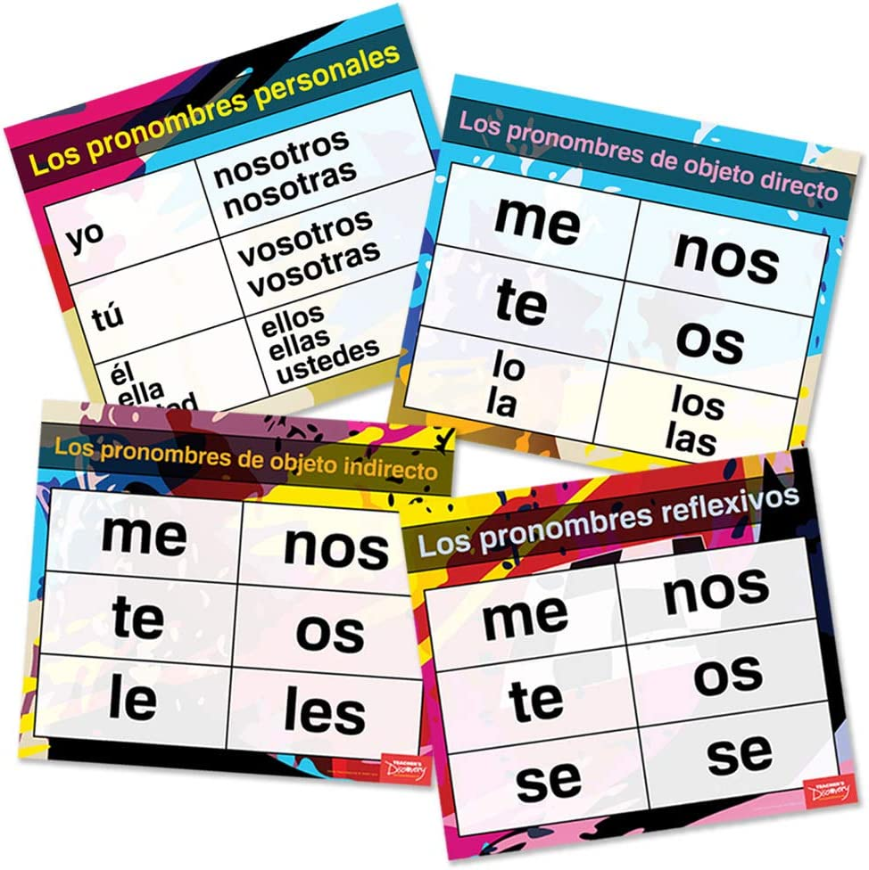 Amazon Com Pronouns Pro Spanish Charts Set Of 4 Office Products