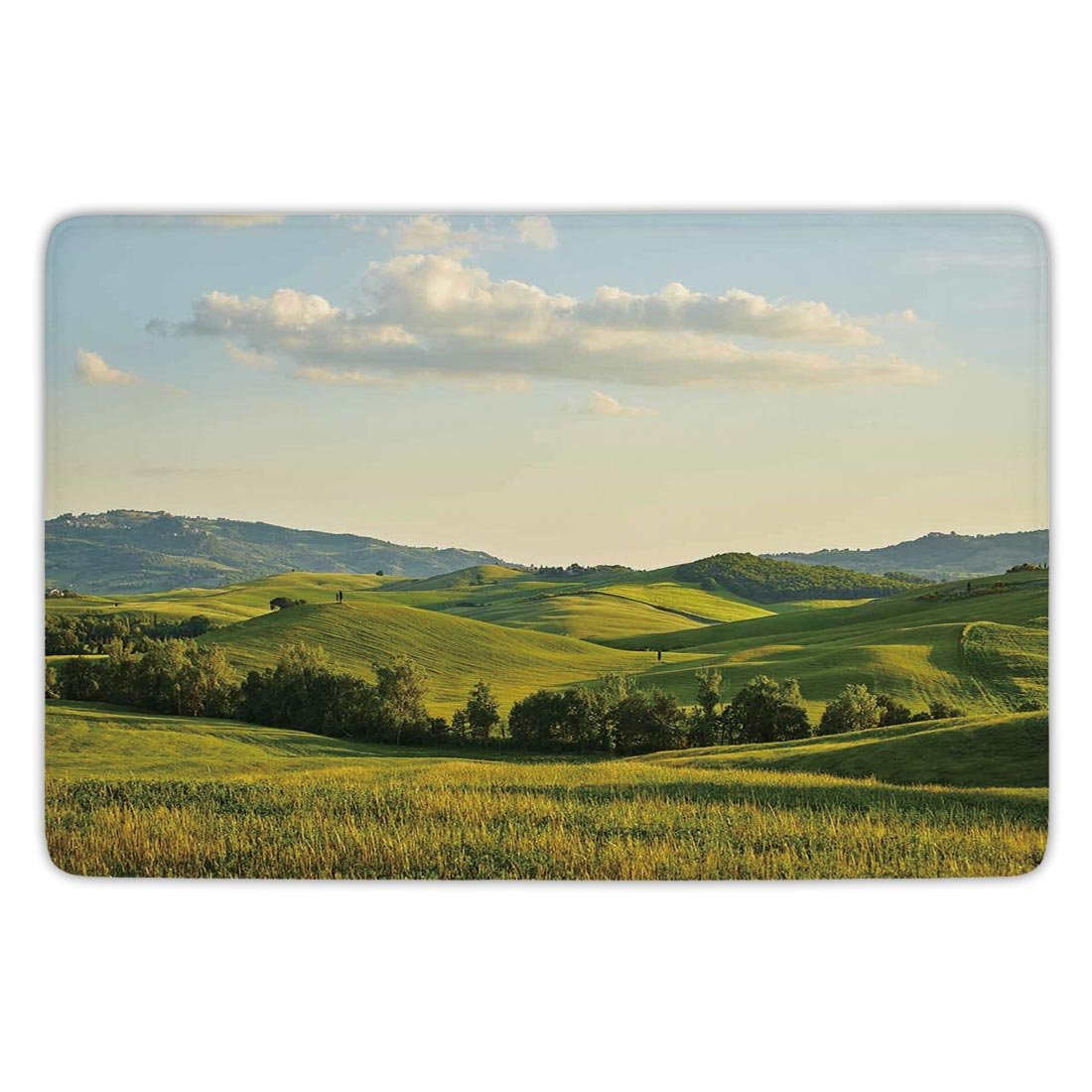Bathroom Bath Rug Kitchen Floor Mat Carpet,Country,Tuscany Hills Italy Meadow Greenery Pastoral Rural Scenery Farmland Scenic,Green Light Blue,Flannel Microfiber Non-slip Soft Absorbent