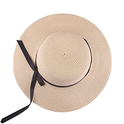 3e73ce28e30 Women s Sun Beach Straw Hats Wide Brim Foldable Kaimao Floppy Summer Cap  58CM - Beige