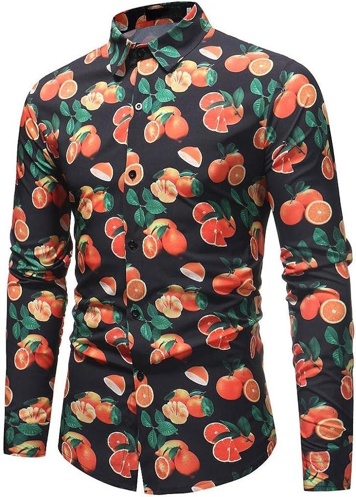 Willsa Men Slim Fit Shirt,Stripe Long Sleeve Turn Down Collar Button Decor Turn-Down Coat Casual Besiness Blouse Tops