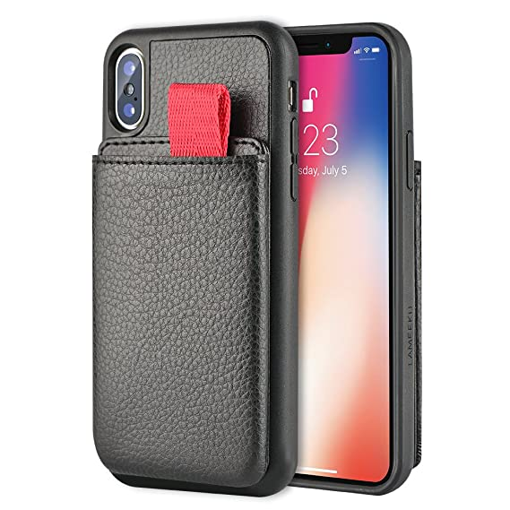 online store 6fb36 09100 LAMEEKU Wallet Case for iPhone XS and iPhone X, Protective Leather Cases  with Credit Card Holder Slot Pocket Support Wireless Charging, Shockproof  TPU ...