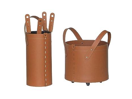 TOCAD: Set para Chimenea y Estufas en Cuero de Color Marrón Compuesto por Porta Leña