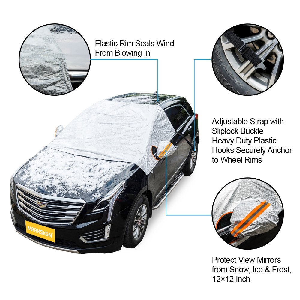 Universal Fit for All Vehicles Frost and Bird Droppings Set of Two Protects from Snow MARKSIGN Waterproof Rear Mirror Covers Ice