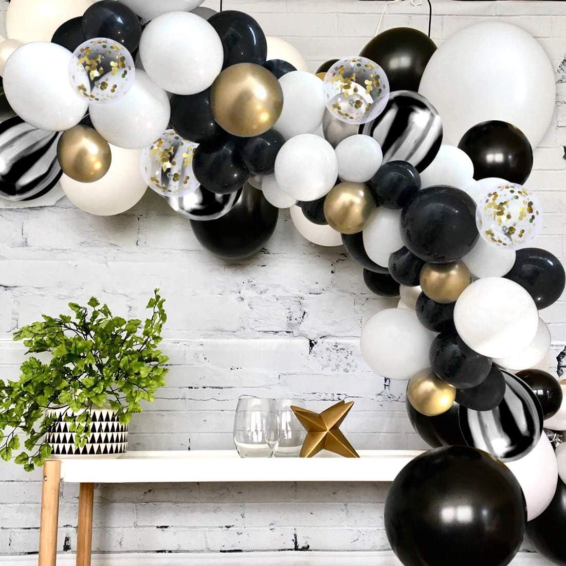 White Black Balloon Arch Kit Agate Black Bronze Gold Balloons for  Graduation Bridal Shower Birthday Party Bachelorette: Amazon.co.uk: Kitchen  & Home
