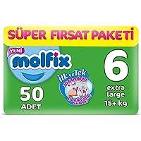 Molfix 3D Bebek Bezi Extra Large 6 Beden, Super Fırsat Paketi 50 Adet