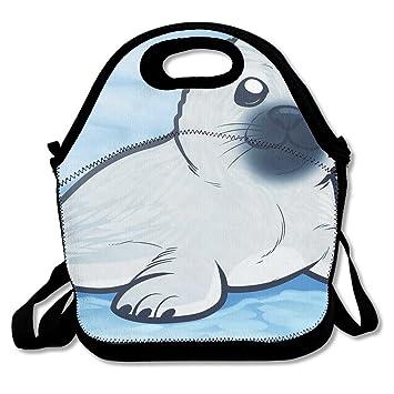 amazon com harp seal drawing lunch box bag insulated waterproof