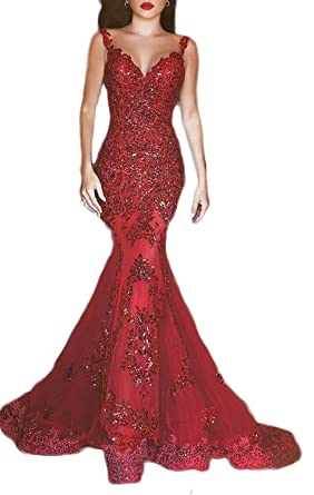 Fanciest Womens Long Sequin Dresses Straps Mermaid Prom Dresses Lace Evening Gowns Red US2