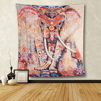 06c4736bd3 Amazon.com  CHICVITA Elephant Tapestry Wall Hanging Decor Indian Home  Hippie Bohemian Tapestry for Dorms  Home   Kitchen