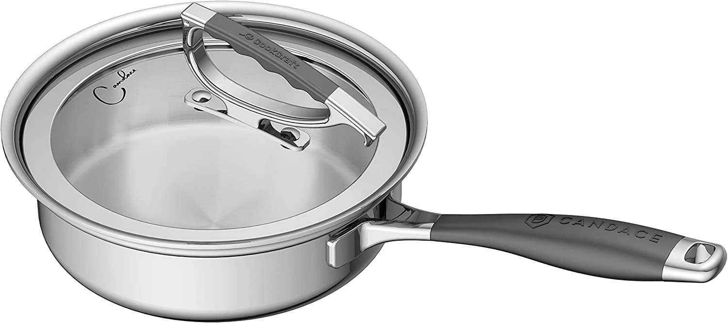 Amazon Com Cookcraft By Candace 8 Tri Ply Bonded Stainless Steel Aluminum Core Dishwasher Safe Sauté Skillet With Glass Latch Lid Kitchen Dining