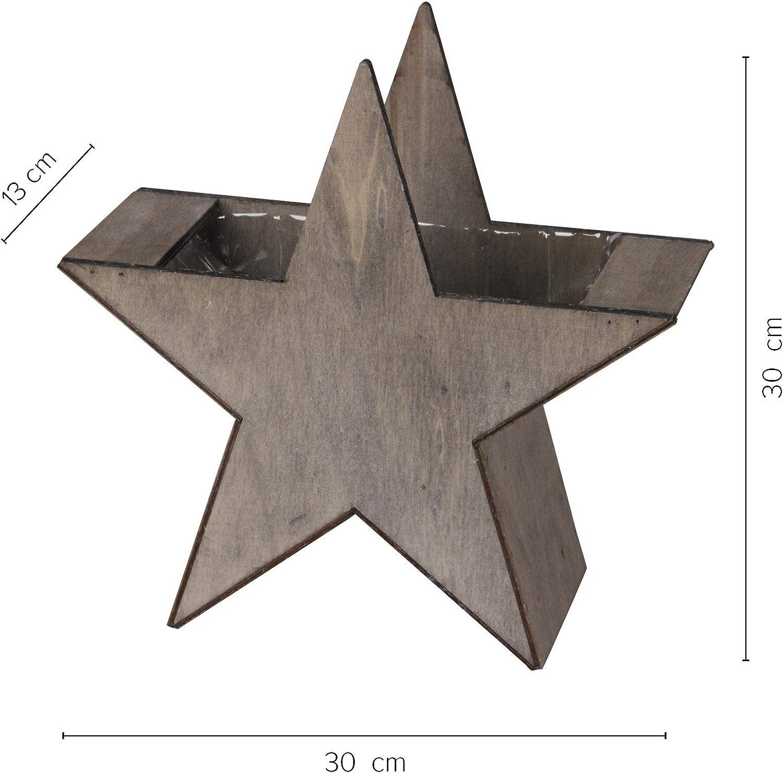 zum Bepflanzen und Dekorieren RM E-Commerce Deko Stern Pflanzschale Holz Weihnachtsdeko 3er Set grau