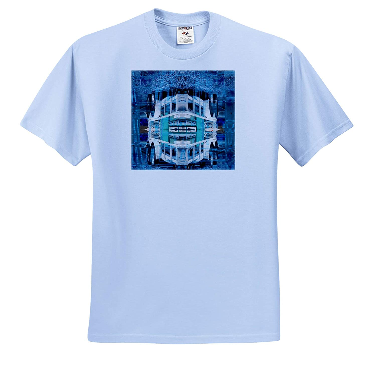 T-Shirts 3dRose Jos Fauxtographee Trailer Mirrored in Blue Green A Mirrored Image of a Trailer in Blue and Green