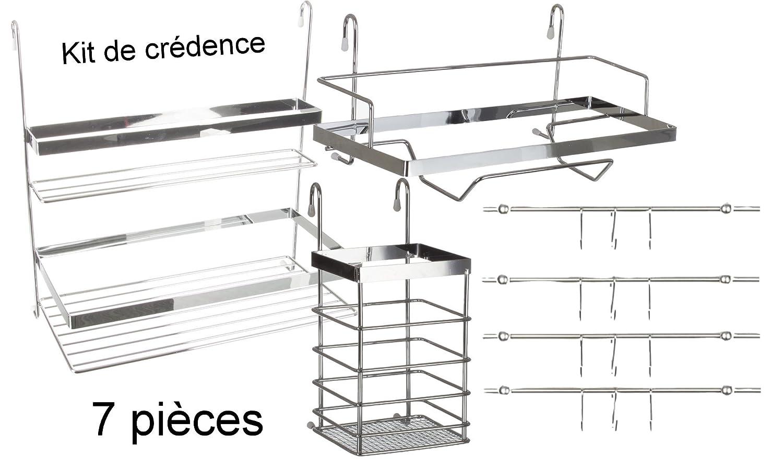 Conjunto de 7 piezas: Kit de accesorios para cocina // 4 barras con ganchos para colgar + 1 estantería doble + 1 porta-utensilios + 1 porta-rollos de papel.