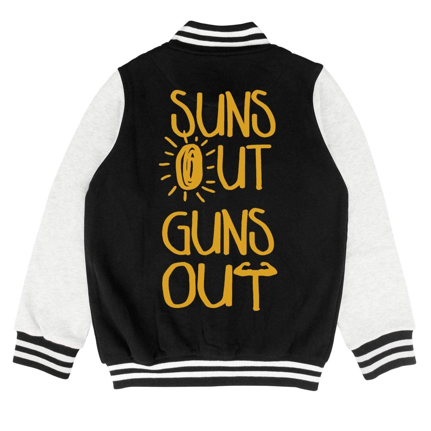 Autumn Kids Boys Cool Suns Out Guns Out Summer Personality Baseball Jacket Overcoat
