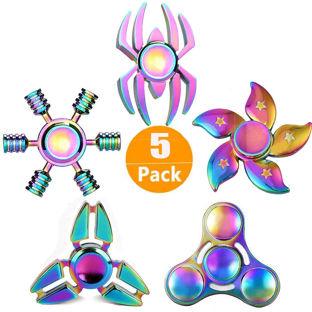 Xstar Rainwbow Snitch Fidget Spinner Metal Hand Spinner Focus Decompression Toy Stainless Steel Metal Fidget Toys Fingertip Gyro Stress Relief Cube Fun Toy Gifts for Kids and Adults (5PCS)