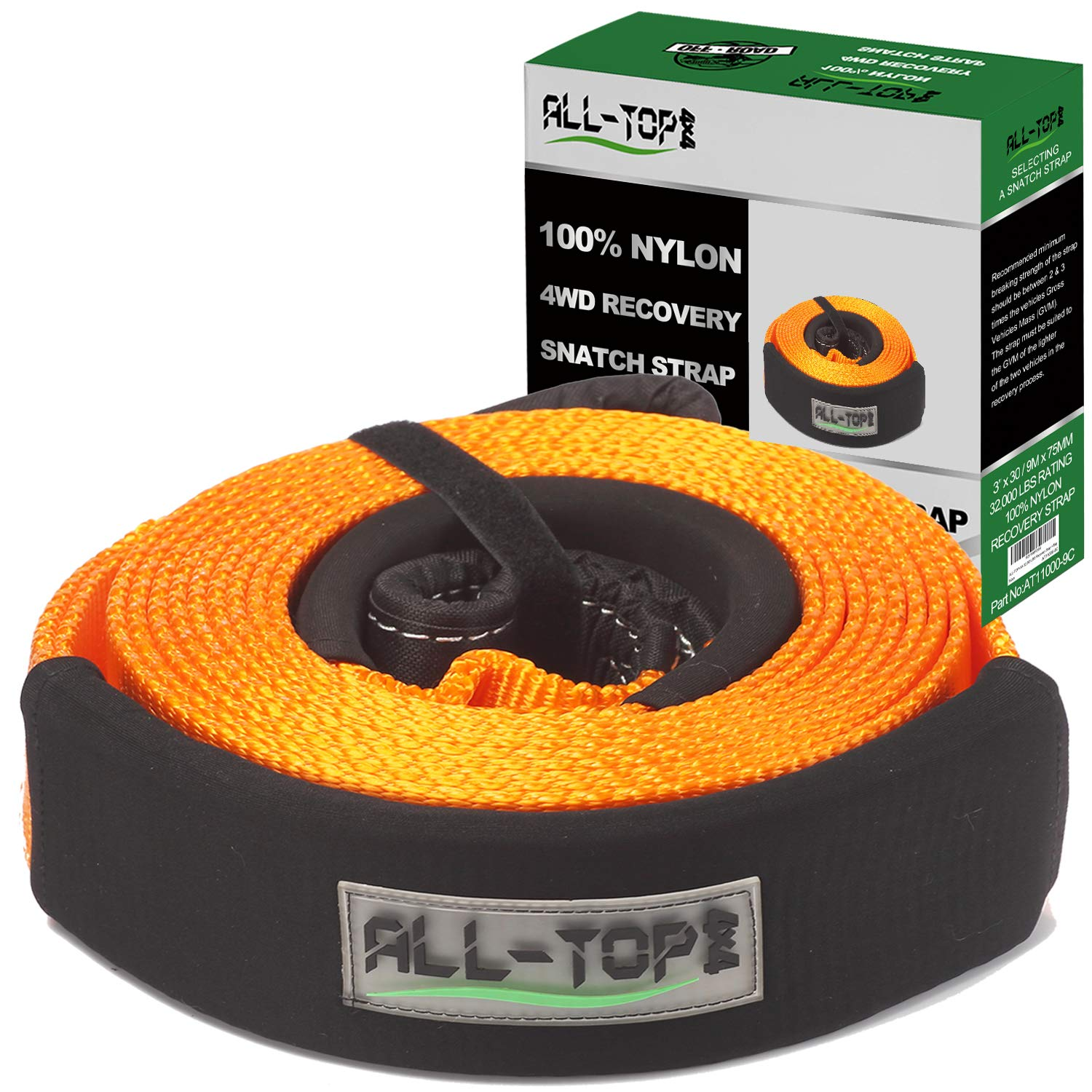 ALL-TOP 100% Nylon Recovery Snatch Strap - 3 inch x 30 ft - Heavy Duty Towing Strap (32,000 lbs) with 22% Elongation - Triple Reinforced Loop Adjustable Protector Sleeve by ALL-TOP
