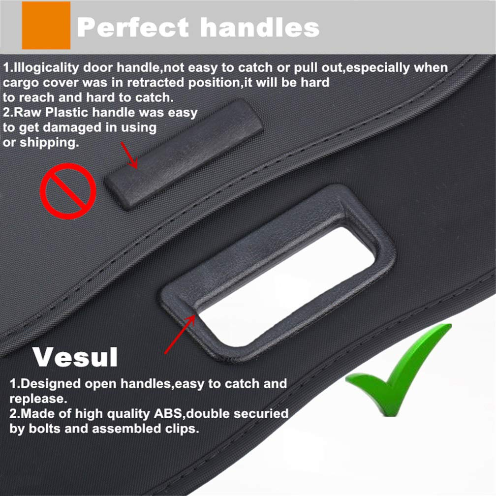 Vesul Updated Version Black Tonneau Cover Retractable Rear Trunk Cargo Luggage Security Shade Cover Shield Fits on Chevy Chevrolet Equinox GMC Terrain 2018 2019(with Extra Canvas Cover)