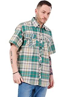 Brandit Roadstar Mens Check Cotton Flannel Shirt Short Sleeve Top Sand Yellow