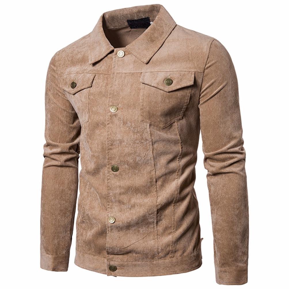 WM & MW Corduroy Jacket,Men's Jacket Fashion Long Sleeve Button-up Lapel Coat Outwear Tops With Pocket (Coffee, Asian:2XL) by WM & MW