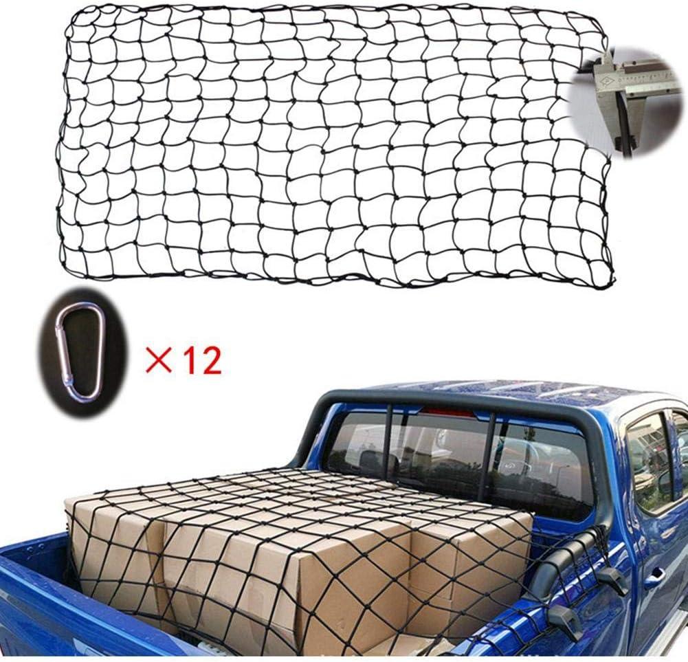 presentimer Super Duty Bungee Cargo Net 120x90cm//180x120cm 12 Carabiners Latex Elastic Mesh for Truck Luggage Packaging