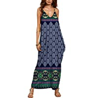 QIYUN.Z Femme V-Cou Spaghetti Sangle Sans Manches Plage Backless Sundress Longue Maxi Robe