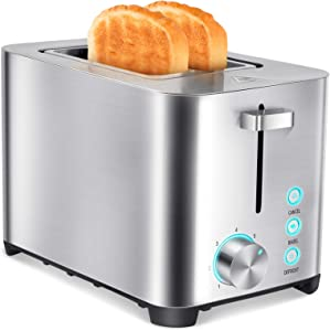 Outon Toaster 2 Slice Extra Wide Slot, Stainless Steel Bread Toaster, 7 Shade Settings LED Indicator Lights 850W with Bagel, Cancel, Defrost & High Lift Lever, Auto Shut Off, Slide-Out Crumb Tray, Cord Storage