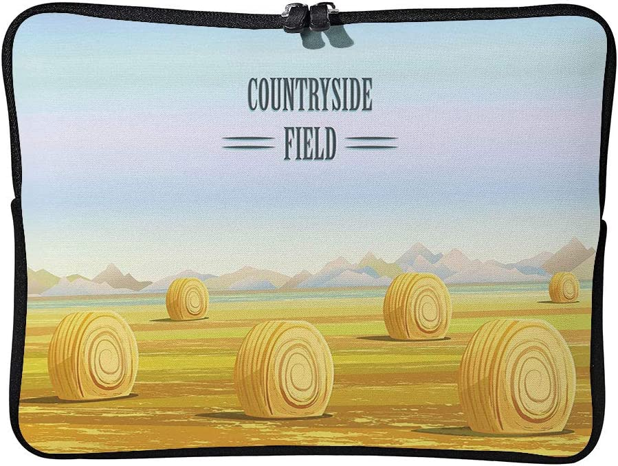 C COABALLA Hay, Countryside Field Rural Area Farming Laptop Sleeve Case Neoprene Carrying Bag for Any Tablet/Notebook AM017307 13 inch/13.3 inch