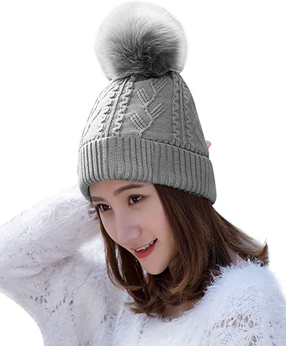 6502541f87e HINDAWI Womens Beanie Pom Pom Winter Hats Knitted Ski Wool Knit Warm Slouch  Skull Caps