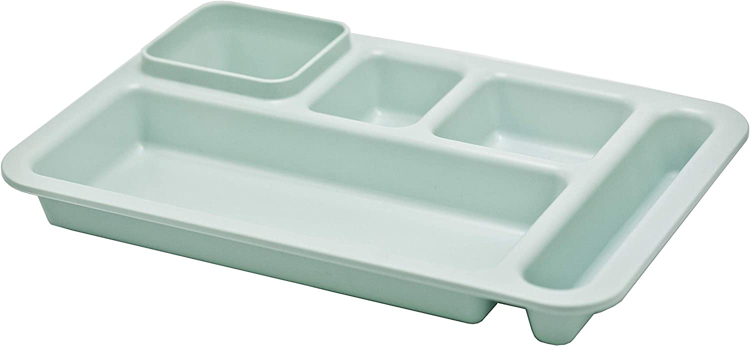 Happy Starla - Right-Hand Heavy Weight Extra Deep Tray 5-Compartment Cafeteria,Fast Food,Home,Events,Dinner Food Plate, 9.5