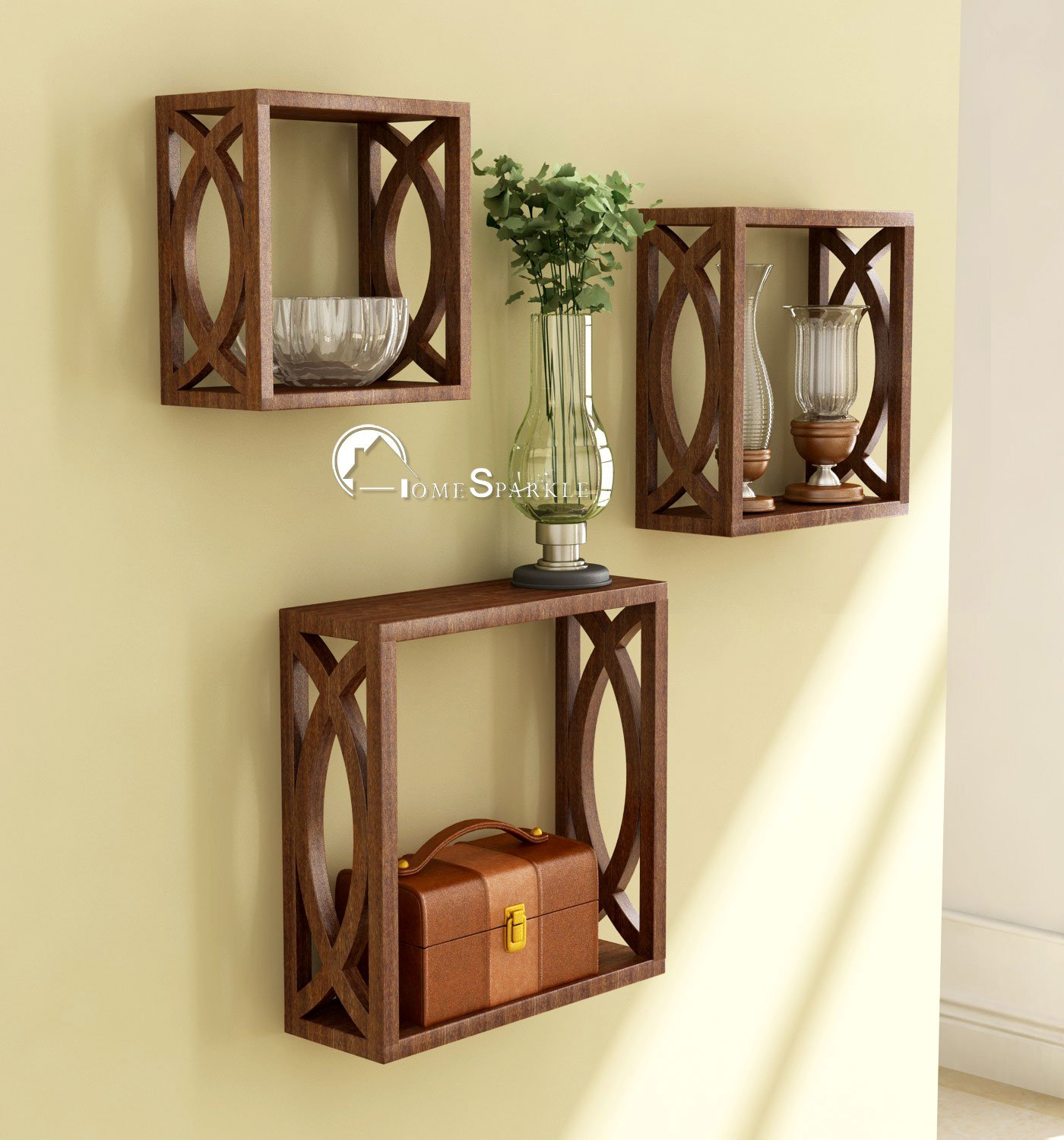 Home Sparkle MDF Wall Shelf | Cube Design Wall Mounted Shelves for Living Room – Set of 3