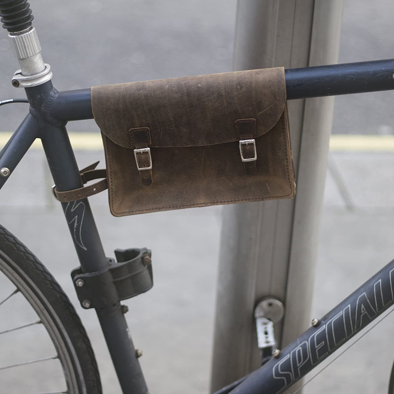 Classic Rahmen Satchel Tasche für Fahrrad antik Echt Leder Braun ...