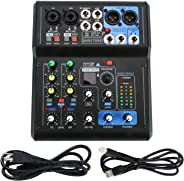 6 Channel Mic Mixer Audio Sound Mixing Board DJ Mixer Mixing Console for Karaoke with USB Interface