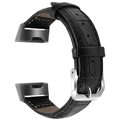 Issmolog Leather Bands Compatible for Fitbit Charge 3 and Charge 3 SE,  Classic Genuine Leather Wristband with Rose Gold or Black Connectors for  Fitbit
