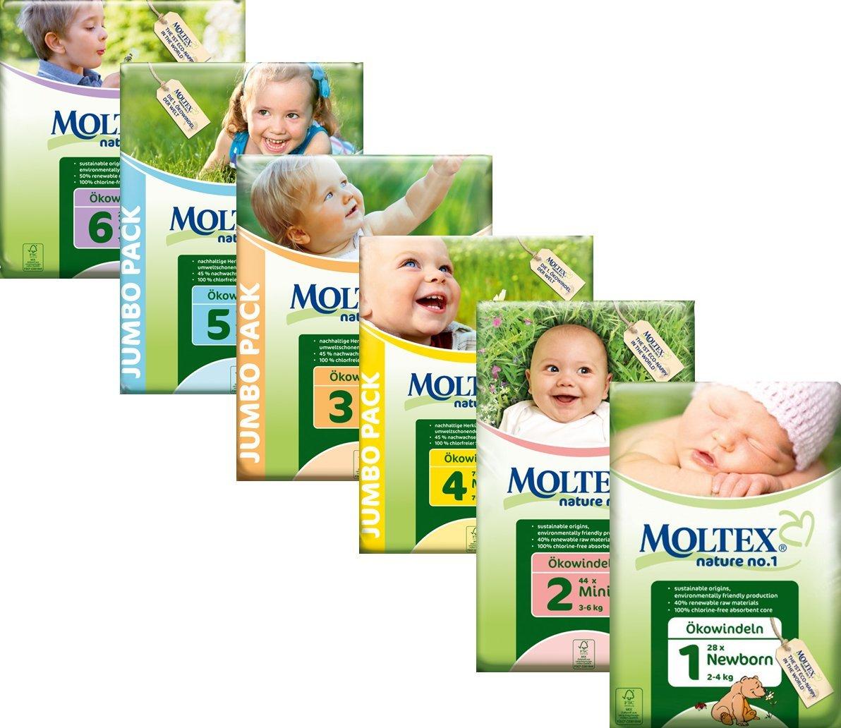 11-25 kg//24-55 lb Moltex Nature No1 Eco Nappy Junior Size 5 --Pack of 64 Nappies