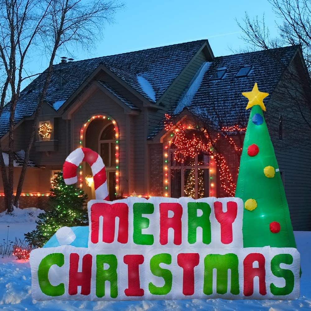Inflatable Outdoor Merry Christmas Sign - 8 Feet Self Inflatable Lighted Christmas Yard Decoration – Fan Blow Up Xmas 8ft Merry Christmas Sing Garden – Ideal for Holiday Parties Festivals Lawn