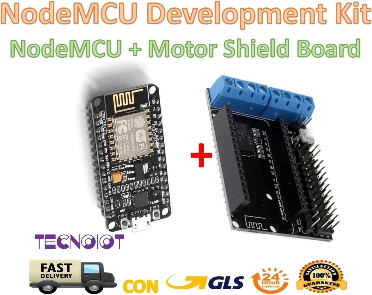ARCELI ESP8266 ESP-12E NodeMcu Lua CP2102 WiFi Junta de Desarrollo inal/ámbrico en Serie Micro USB a TTL IOT y L293D Tarjeta de expansi/ón del Motor M/ódulo de Escudo para Arduino