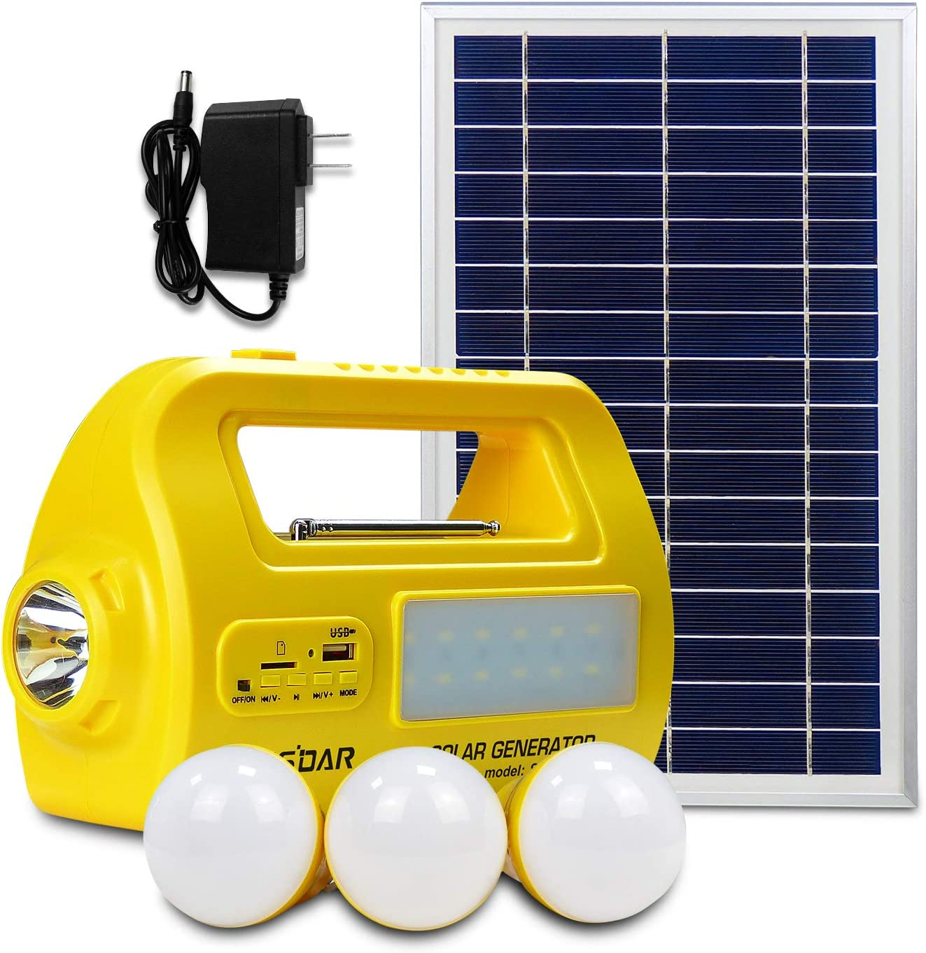 Portable Solar Generator with Solar Panel,Solar Lights, Solar Home System, Multifunctional Solar Generator with 3 Sets LED Lights and 2 USB Port for Power Bank, Camping,Speaker Update Version (Yellow)