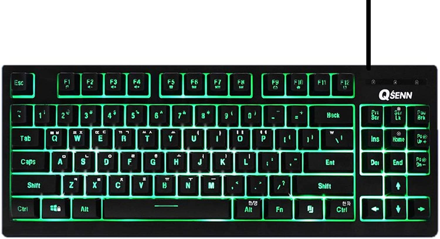 QSENN SEM-DT25T Korean English Gaming Tenkeyless Keyboard USB Wired Compact Mini Size Keyboard for PC